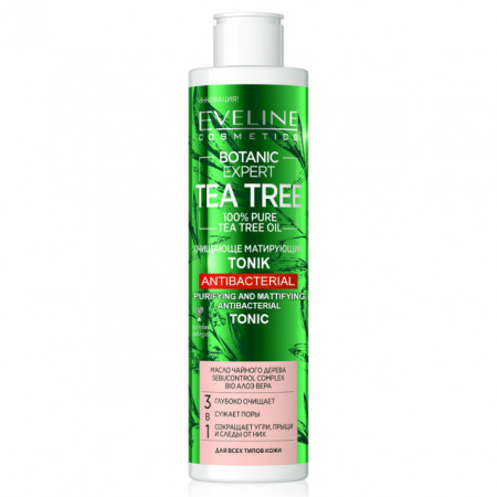Tonifiant de Curatare Antibacteriana 3in1 Botanic Expert Tea Tree Oil 100% Pure Eveline