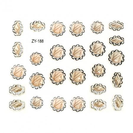 Abtibilde Unghii Autocolante, Cod ZY-188, Culoare Crem/Argintiu, Motive Ornamentale, Stickere Tatuaje si Accesorii Nails Art Unghii