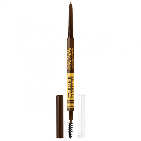 Creion cu Perie Sprancene Eveline Cosmetics Micro Precise Brow Pencil, Culoare Soft Brown