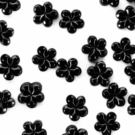 Strasuri Unghii Pietricele Flori Culoare Negru, Pietre Decorative Manichiura