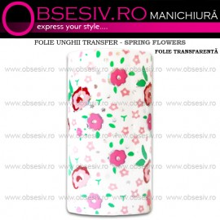 Folie Unghii Transfer - SPRING FLOWERS TRANSPARENT - Folii Decorative Unghii