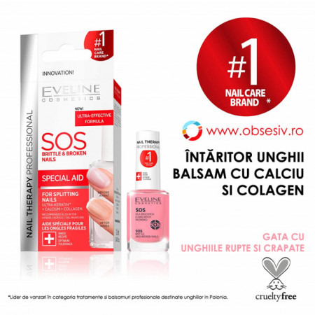 Tratament Balsam Unghii Fragile si Casante Eveline Cosmetics SOS