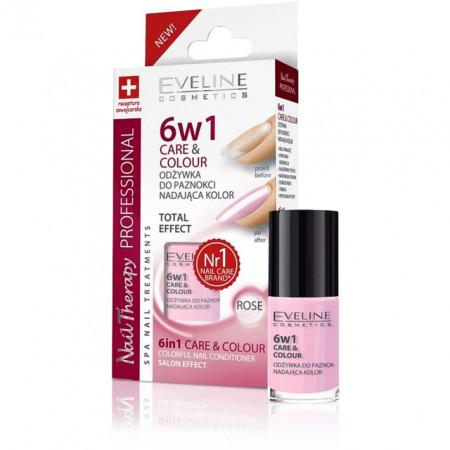 Tratament Unghii 6 in 1 Rose, Care & Colour Eveline Cosmetics