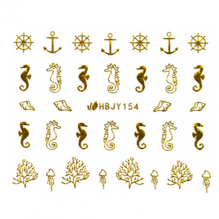 Abtibilde Unghii cu Motive Decorative Marine, Golden Navigators HBJY154