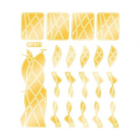 Abtibilduri Unghii, Culoare Auriu, Cod NF401, Abtibilde Profesionale Unghii, Stickere Unghii Auriu
