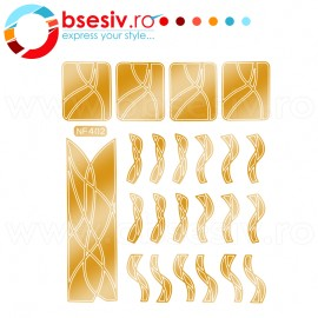 Abtibilduri Unghii, Culoare Auriu Rosiatic, Cod NF402, Abtibilde Profesionale Unghii, Stickere Unghii Auriu