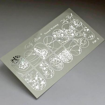 """Abtibilduri Unghii pe Bază de Apă, Model """"BAROQUE FLOWERS"""", Cod Foil-5 Silver, Accesorii Manichiura Nail Art"""