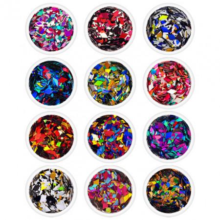Paiete Confeti Unghii Forma de Romb cu Efect Oglinda Set 12 Culori Diferite