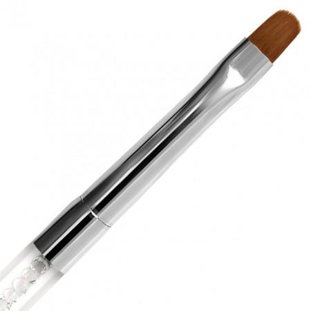 Pensula Dreapta Gel, Nr #8 Fasio, Maner Transparent cu Cristale