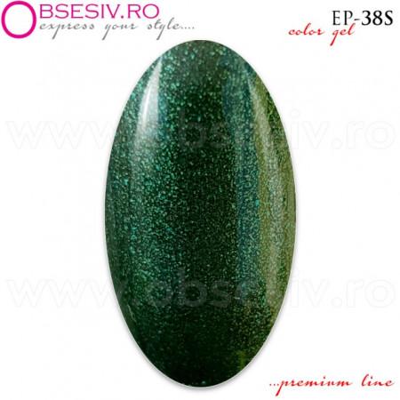 Geluri Colorate Premium Line, Exclusive Nails, Cod EP38S, Gramaj 5ml, Culoare Peacock Green
