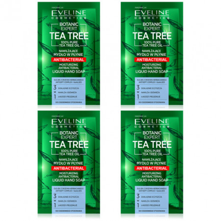 Set 4 Plicuri Sapun Lichid Hidratant Antibacterian 3in1 Botanic Expert Tea Tree Eveline