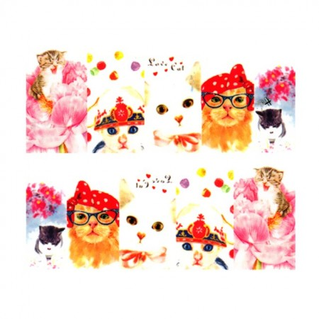 Stickere Unghii pe Bază de Apă, Model PISICUTE 01, Cod LR-770 (Abtibilduri Unghii - Tatuaje Unghii - Nail Stickere - Water Nail Art)
