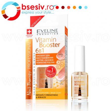 Tratament Profesional 6 in 1 Vitamin Booster Eveline Cosmetics, Tratament Intarire Unghii in 5 Minute