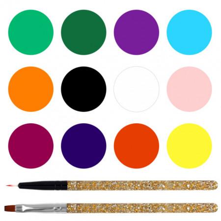 Vopsele Acril Acoarela 3D Set 12 Culori + 2 Pensule