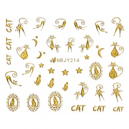 Abtibilde Unghii cu Motive Decorative Pisici, Golden Cats