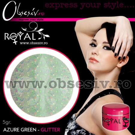 Gel colorat unghii Royal Femme AZURE GRREN GLITTER (Geluri Profesionale Unghii)
