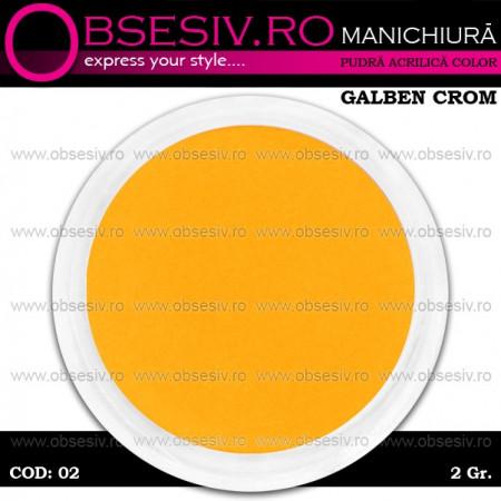 Pudra Acrilica Color Galben Crom, Cod 02