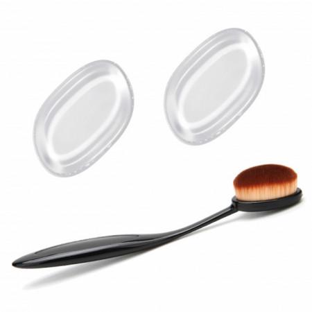 Set Machiaj Pensula Ovala si 2 Bureti Silicon Cosmetica