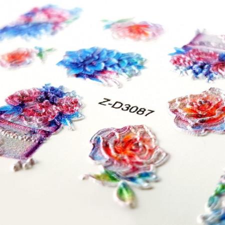 Stickere Unghii 5D, Model Floral, Z-D3087