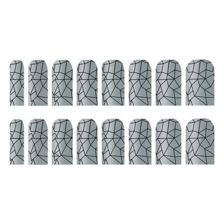 Abtibilde Unghia Intreagă 16 Buc, Silver Ornaments, Stickere Unghii