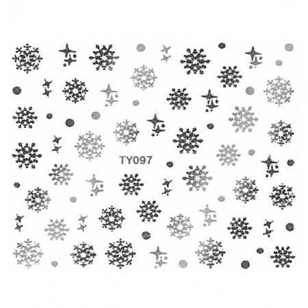 Abtibilde Unghii Motive Decorative Fulgi de Zapada 'Silver Snowflakes' No. TY097