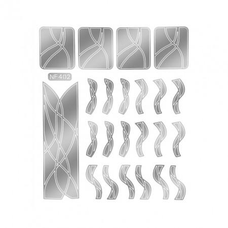Abtibilduri Unghii, Culoare Nichel, Cod NF402, Abtibilde Profesionale Unghii, Stickere Unghii Gri Nichel