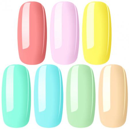 Set Geluri Color Exclusive Nails Breeze Pastel 7 Culori Diferite
