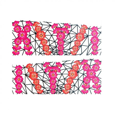 Stickere Unghii pe Bază de Apă, Model FLOWERS PINK-ORANGE, Cod LR-996 (Abtibilduri Unghii - Tatuaje Unghii - Nail Stickere - Water Nail Art)