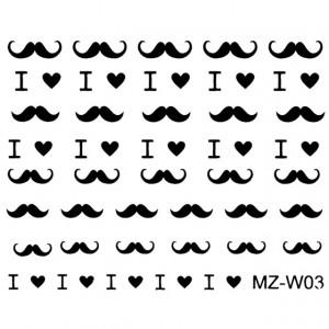 Abtibilde Unghii Mustati Negre, MZ-W03 (Abtibilduri Unghii - Tatuaje Unghii - Nail Stickere)