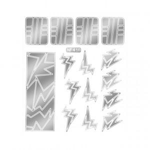 Abtibilduri Unghii, Culoare Nichel, Cod NF410, Abtibilde Profesionale Unghii, Stickere Unghii Gri Nichel
