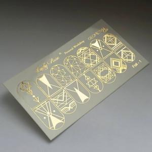 Abtibilduri Unghii pe Bază de Apă, Model GEOMETRIC FORMS, Cod Foil-1 Gold, Accesorii Manichiura Nail Art