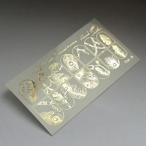"""Abtibilduri Unghii pe Bază de Apă, Model """"PEACOCK FEATHER"""", Cod Foil-8 Gold, Accesorii Manichiura Nail Art"""