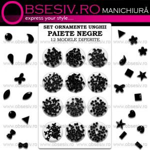 Decoraţiuni Unghii PAIETE NEGRE - Set Paiete 12 Modele Diferite - Ornamente Nail Art Manichiură
