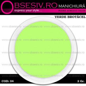Pudra Acrilica Color Verde Brotacel, Cod 04