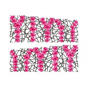 Stickere Unghii pe Bază de Apă, Model PINK ROSES, Cod LR-995 (Abtibilduri Unghii - Tatuaje Unghii - Nail Stickere - Water Nail Art)