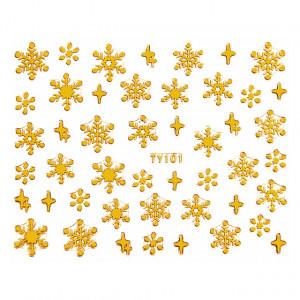 Abtibilde Unghii Motive Decorative Fulgi de Zapada 'Gold Snowflakes' No. TY0101