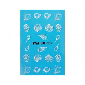 Abtibilduri Unghii pe Baza de Apa cu Efect 3D, Model 'Seashells', Cod VNA 3D-007, Abtibilde Unghii 3D