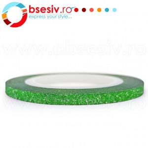 Banda Adeziva Decor Unghii cu Sclipici Verde Latime 3mm