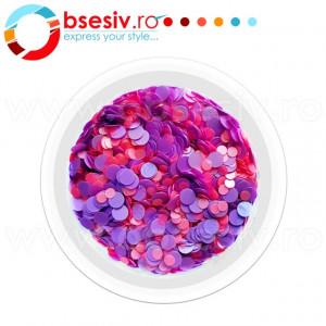 Confetti Unghii, Cod CU-RM, Culoare Roz-Mov, Model 'Buline Mixte', Paiete Unghii, Accesorii Nail Art Manichiura