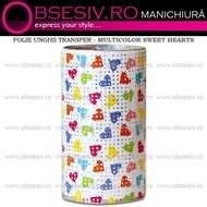 Folie Unghii Transfer - MULTICOLOR SWEET HEARTS - Folii Decorative Unghii