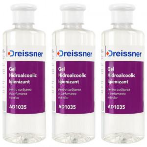 Kit Ingrijire Igienica Gel Hidroalcoolic Igienizant Dreissner 3 Buc x 500 ml