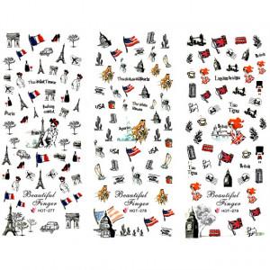 Stickere Unghii pe Baza de Apa, 3 Seturi, HOT 277 - HOT 279