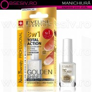 Tratament Profesional Unghii 8 in 1 Golden Shine - Regenerare Instant, Tratament 8 in 1 Total Action cu Particule de Aur, Eveline Cosmetics