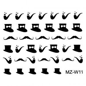 Abtibilde Unghii Mustati Negre, MZ-W11 (Abtibilduri Unghii - Tatuaje Unghii - Nail Stickere)