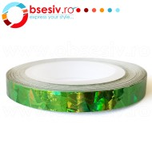 Banda Decor Unghii Zig-Zag, Culoare Verde cu Reflexe Multicolore, Role Ornamentale Manichiura