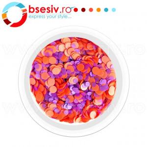 Confetti Unghii, Cod CU-PM, Culoare Portocaliu-Mov, Model 'Buline Mixte', Paiete Unghii, Accesorii Nail Art Manichiura