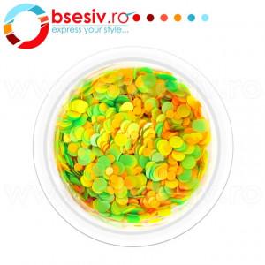 Confetti Unghii, Cod CU-VGP, Culoare Verde-Galben-Portocaliu, Model 'Buline Mixte', Paiete Unghii, Accesorii Nail Art Manichiura