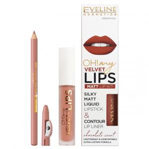 Luciu Mat si Contur Buze Eveline Cosmetics OH My Velvet Lips Matt No 11 Cookie Milkshake