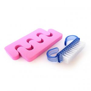 Separator Degete Picioare si Perie, Set Pedichiura Pink