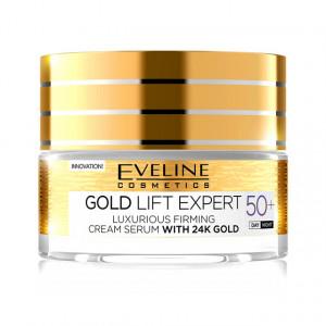 Ser de Lux si Crema Antirid pentru Fermitatea Tenului Gold 24K Lift Expert 50+ Eveline Cosmetics